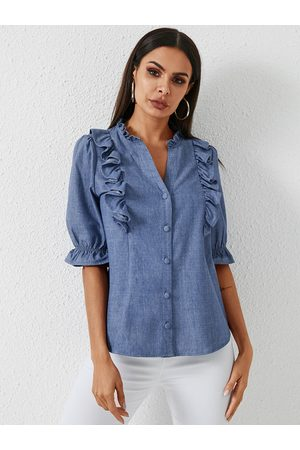 YOINS Blue Button Design V-neck Short Sleeves Blouse