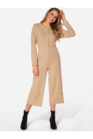 YOINS Women Long Sleeve - Button Design Round Neck Long Sleeves Jumpsuit