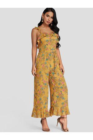 YOINS Lace-up Design Floral Print Sleeveless Jumpsuit