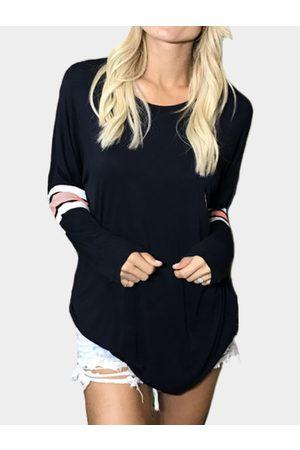 YOINS Women Long Sleeve - Stripe Pattern Round Neck Long Sleeves T-shirt