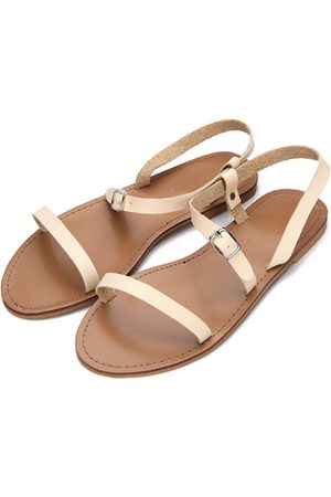 YOINS Apricot Pin Buckle Strap Open Toe Simple Slip-on Style Sandals