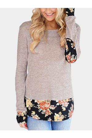 YOINS Light Floral Elbow Patch Splicing T-Shirt