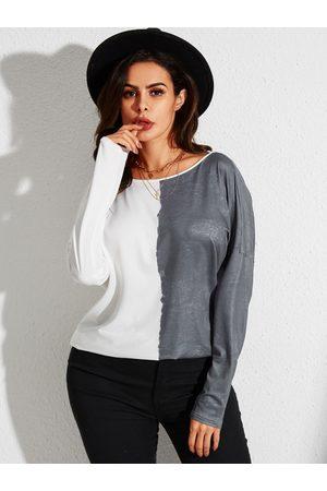YOINS Women Long Sleeve - Backless Design Patchwork Halter Long Sleeves Tee