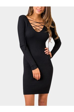 YOINS Bodycon Deep V Neck Lace-up Strape Front Party Dress