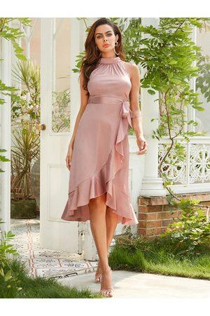 YOINS Pink Belt Self-tie Design With Ruffle Trim Slit Hem Satin Dress