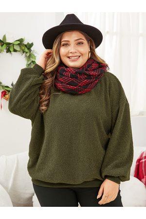 YOINS Plus Size Army Green Round Neck Teddy Sweatshirt