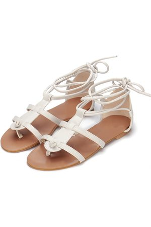 YOINS Light Grey Leather Look Lace-up Gladiator Flat Sandals