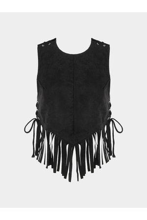 YOINS Open Back Lace-up Design Tassel Cami Top