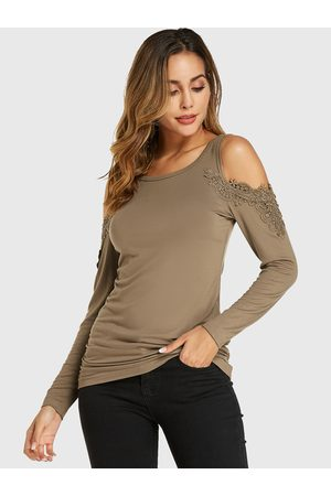 YOINS Crochet Lace Embellished Cold Shoulder Long Sleeves Tee