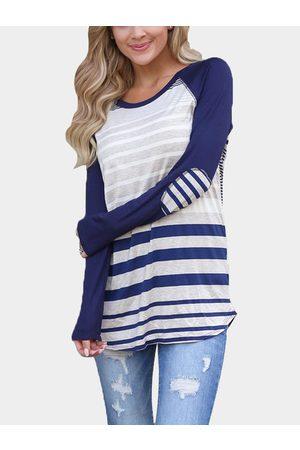 YOINS Blue Stripe Round Neck Curved Hem Tee