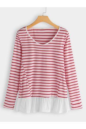 YOINS Red Stripe Crew Neck Long Sleeves Ruffle Hem T-shirt