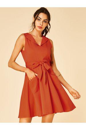 YOINS Self-tie Design Zip Back V-neck Knitted Dress
