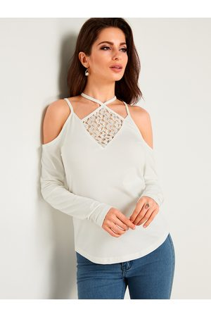 YOINS Halter Lace Long Sleeves Fashion Blouse