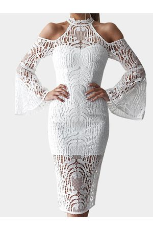 YOINS Lace Details Hollow Design Plain Halter Long Sleeves Dress