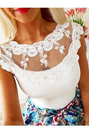YOINS White Lace Insert Round Neck Sleeveless Cami