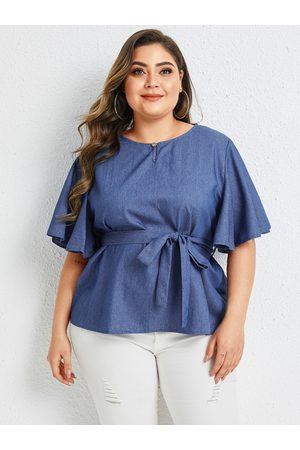 YOINS Plus Size Blue Belt Design Round Neck Half Sleeves Tee
