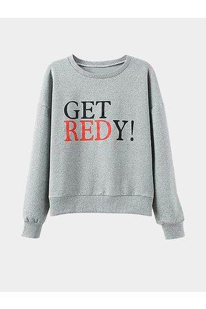 YOINS Letter Print Long Sleeve Sweatshirt