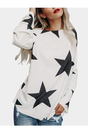 YOINS Star Pattern Round Neck Long Sleeves T-shirt