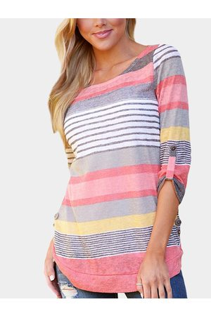 YOINS Random Stripe Pattern Round Neck Curved Hem Shirt