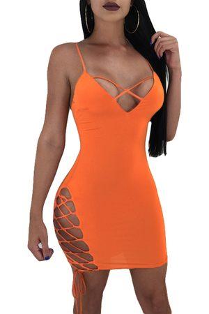 YOINS Lace-up Hollow Design Spaghetti Sleeveless Sexy Mini Dress