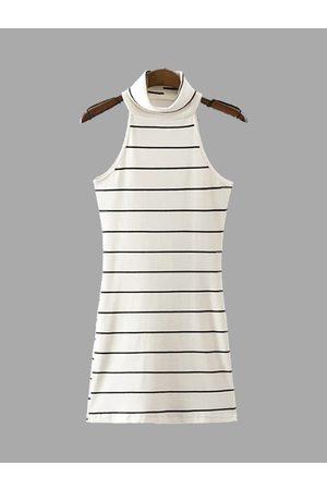 YOINS Knit High Neck Stripe Pattern Sleeveless Mini Dress