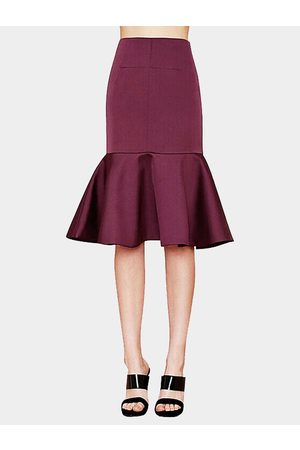 YOINS Midi Flared Skirt With Peplum hem