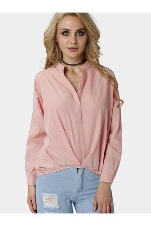 YOINS Loose Shirt Single Breasted Design Pleats Shirt