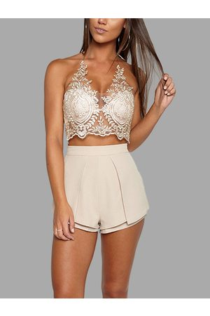YOINS Sexy Thread Embroidery Hollow Out Lace Crop Top