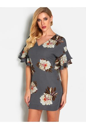 YOINS Floral Print Flared Sleeves Fashion Mini Dress