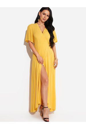 YOINS V Neck Slit Sexy Long Dress