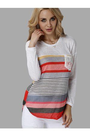 YOINS Casual Random Color Block Stripe Long Sleeves T-shirt