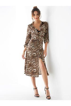 YOINS Apricot Leopard Classic Collar Slit Design Dress