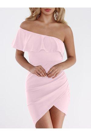 YOINS One Shoulder Asymmetrical Bodycon Mini Dress in Lavender