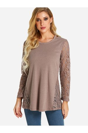 YOINS Coffee Lace Insert See Through Design Round Neck Long Sleeves T-shirts