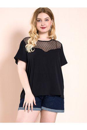 YOINS Plus Size Black Backless Design Round Neck Short Sleeves Tee