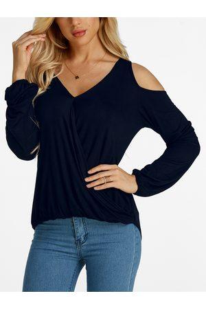 YOINS Cold Shoulder Design Pleated Front V-neck Long Sleeves T-shirts