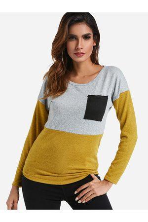 YOINS Yellow and Grey Colorblock Pocket Tee