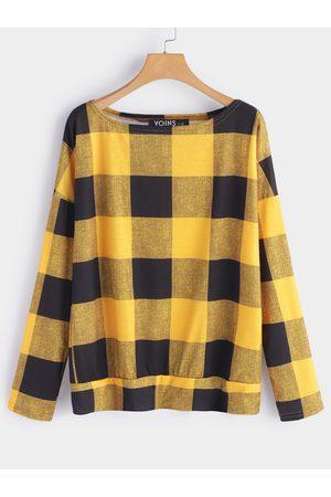 YOINS Grid Pattern One Shoulder Long Sleeves Loose T-shirt