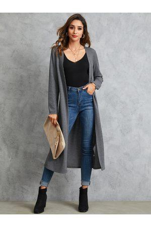 YOINS Dark Grey Open Front Long Sleeves Cardigan