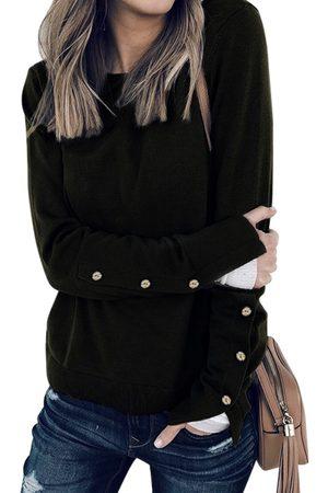 YOINS Black Button Design Slit Details Crew Neck Long Sleeves T-shirts