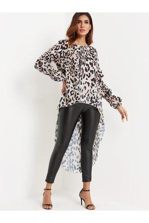 YOINS Leopard Print Puff Sleeved Hi-low Hem Maxi Tunic Top