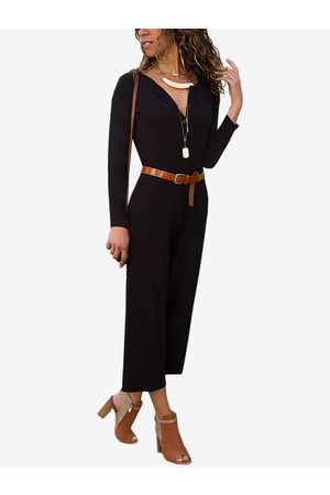 YOINS Button Design Round Neck Long Sleeves Jumpsuit