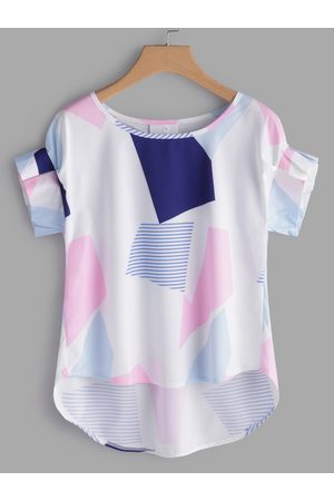 YOINS Multi Color Geometrical Parttern Round Neck Flounced Details Short Sleeves Top