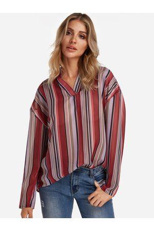 YOINS Stripe V-neck Long Sleeves Curve Hem Loose Fit Shirt