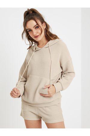 YOINS Beige Hooded Design Drawstring Pocket Hoodie
