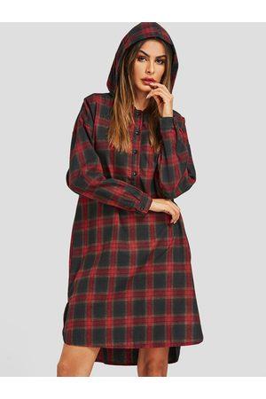 YOINS Grid Irregular Hem Hoodie Shirt Dresses