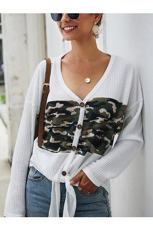YOINS Patch Camo Front Button Tie-up Knit Top