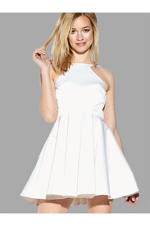YOINS Backless Halter Mini Dress with Ruffled Hem