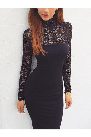 YOINS Lace Insert Long Sleeves Dress
