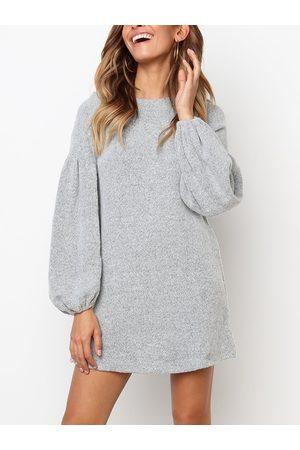 YOINS Round Neck Lantern Long Sleeves Sweater Dress